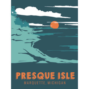 presque isle sunset point poster marquette michigan beer graphic design by that girl amber johnston