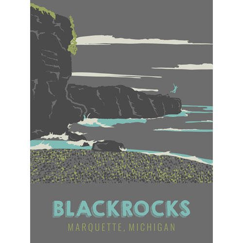blackrocks black rocks poster marquette michigan beer graphic design by that girl amber
