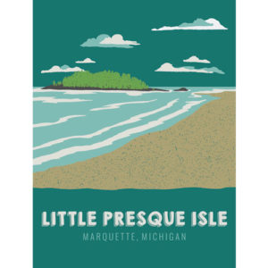 Little Presque Isle Poster Yooper shirts yoopers UP upper peninsula marquette michigan beach northern lights island graphic design by that girl amber