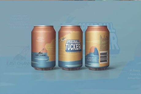 EAST CHANNEL BREWING CAN DESIGN SPEEBALL TUCKER GRAPHIC DESIGN _ Because Marquette Home Michigan Apparel Graphic Design Marketing IMG