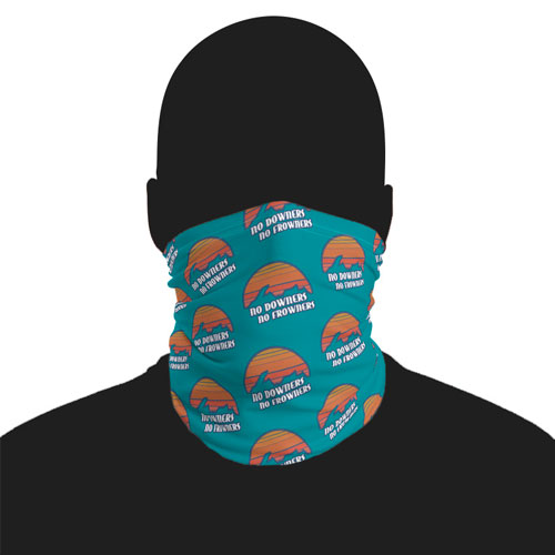 No downers no frowners face mask neck gaiter ski mask sunset over upper peninsula of michigan with words no downers no frowners