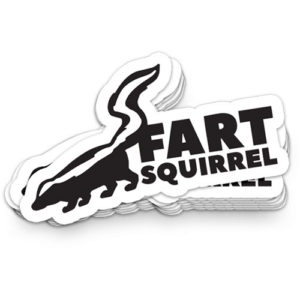 fart squirrel making a stink about the outdoors sticker marquette michigan that girl amber planet