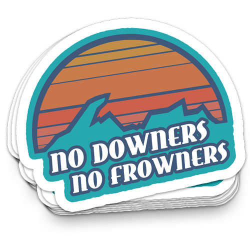 No downers no frowners sticker sunset over upper peninsula of michigan with words no downers no frowners